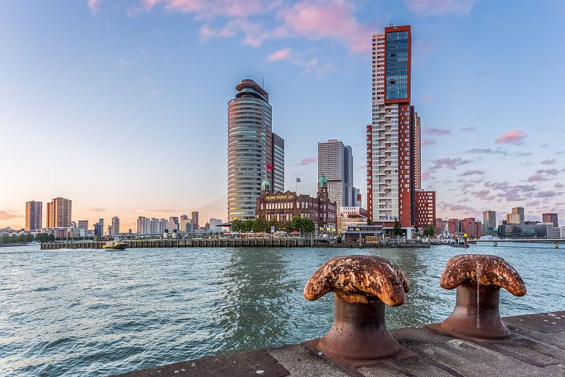 Skyline Rotterdam  achter bolders van Prachtig Rotterdam