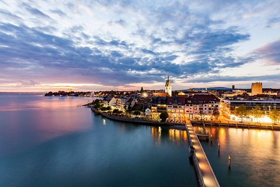 Cityscape of Friedrichshafen at Lake Constance at night