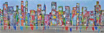 Skyline lightslatebleu  stadsgezicht van Kunstenares Mir Mirthe Kolkman van der Klip