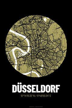 Düsseldorf – City Map Design Stadtplan Karte (Grunge) von ViaMapia