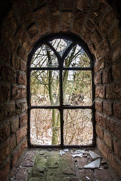 Gebroken glas van denk web