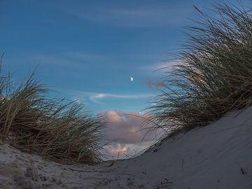 La lune entre les dunes