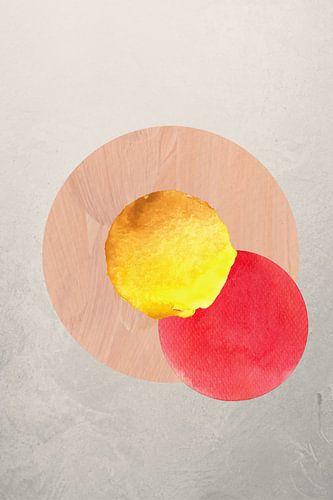 Cirkels in geel, rood en zalm.