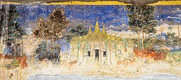 Fresco van het Koninklijk Paleis in Phnom Penh, Cambodja van Rietje Bulthuis