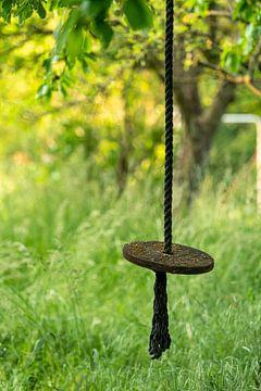 Schommeling aan een houten schijf hangt aan een dik touw in een wilde tuin van Hans-Jürgen Janda