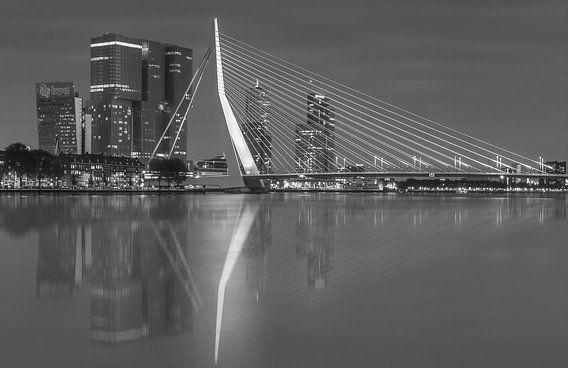 Skyline van Rotterdam met Erasmusbrug in zwart-wit.