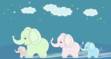 famille éléphant sur Marion Tenbergen