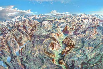 Karte des Yosemite Nationalparks (ohne Etiketten), Heinrich Berann von Creatieve Kaarten
