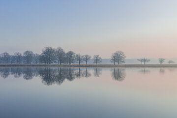 Zonsopgang - Serene weerspiegeling van bomen in het water - 1 van Yvon van der Laan