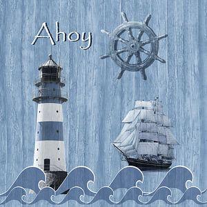 Ahoy -  Maritimes Blau von