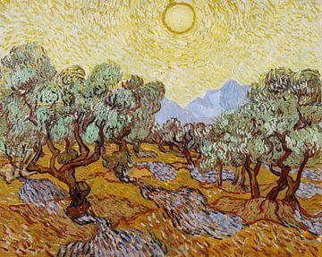 Olivenbäume mit gelbem Himmel und Sonne, Vincent van Gogh