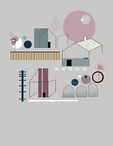 Minimalistisch, abstract landschap met huizen, bomen en bloemen.