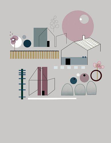 Minimalistisch, abstract landschap met huizen, bomen en bloemen.  van