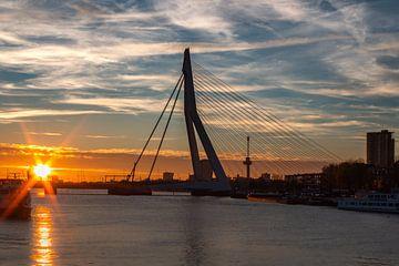 Le pont Erasmus à Rotterdam au coucher du soleil sur Arisca van 't Hof