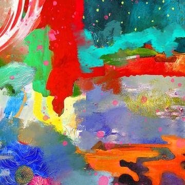 Modern abstract schilderij van Nicole Roozendaal