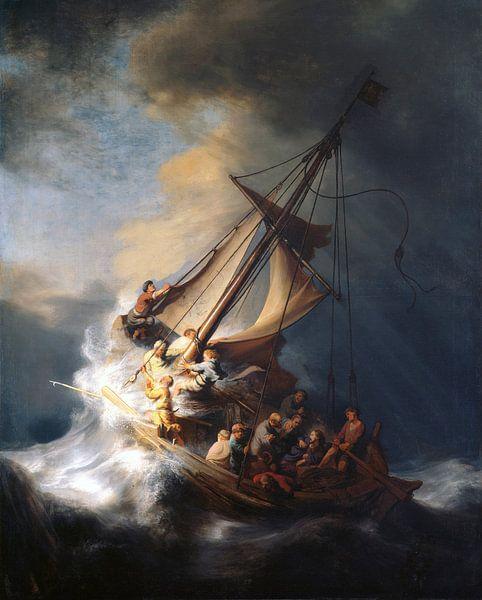 Christus im Sturm auf dem See von Galiläa, Rembrandt vom Rhein von Rembrandt van Rijn