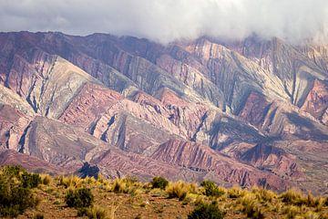 Uitzicht over de bergen van 14 kleuren in Argentinië van OCEANVOLTA