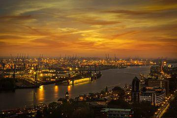 Uitzicht op de dokken in de haven van Hamburg op het gouden uur van de rivier de Elbe van Annette Hanl