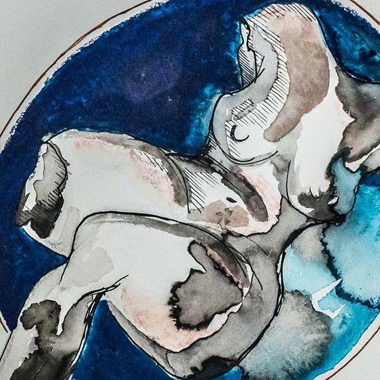 Aquarel met inkt en blauw/bruin