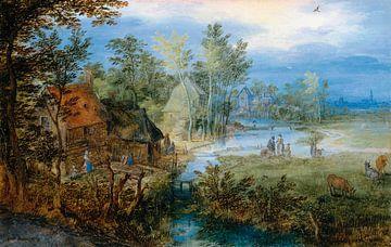 Dorfszene mit Figuren und Kühen, Jan Brueghel de Oude