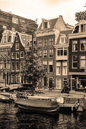 Binnenstad van Amsterdam Nederland Sepia