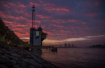 Zonsopgang Rotterdam van Peter Hooijmeijer