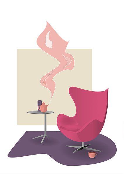 Design interieur illustratie met roze Egg Chair van Ebelien