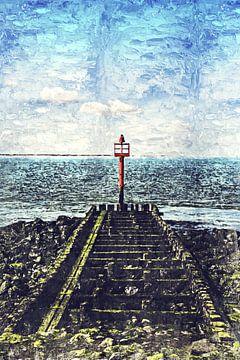 Lichtbaken voor de kust van Vlissingen (Zeeland) (schilderij) van Art by Jeronimo