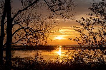 Zonsondergang Sneekermeer van Haaije Bruinsma Fotografie