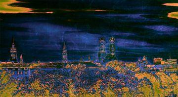 München im Herzen Blau Pop Art von
