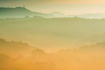 Morgendämmerung in Val d'Orcia, Toskana. von Filip Staes