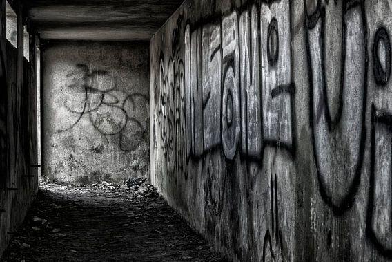 Graffiti in zwart wit van Pieter van Roijen