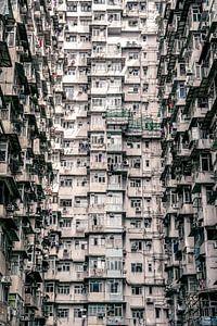 Een muur van appartementen