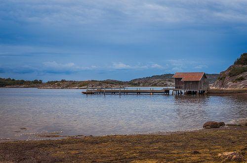 wooden pier on the swedish coast near stromstad