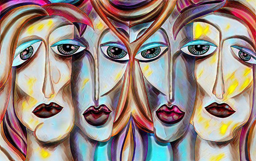 Vier Frauen - Abstrakte Malerei von Patricia Piotrak