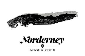 Norderney | Artistieke landkaart | Eilandsilhouet | Zwart en wit van ViaMapia