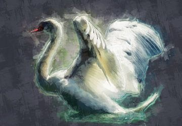 Ein einzigartiges Ölgemälde-Porträt eines Schwans von Bert Hooijer
