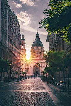 St. Stephen's Basiliek, Boedapest. Een kerk in Hongarije in de ochtend in de hoofdstad van Jan Wehnert