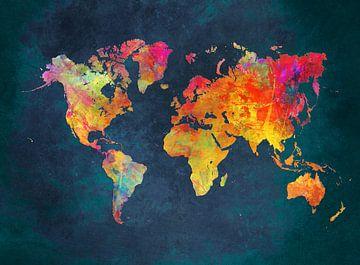 Weltkarte blaue Farben #Karte von JBJart Justyna Jaszke
