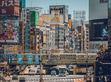 Een drukke, zonnige dag in Tokyo (Japan). van Claudio Duarte