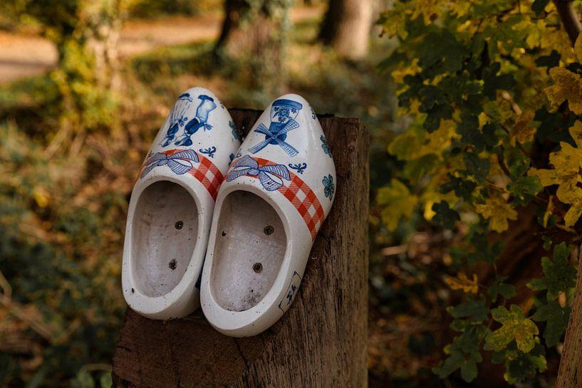 deux chaussures en bois sur un poteau en bois sur le chemin des chaussures en bois sur ChrisWillemsen