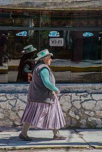 Peruaanse vrouw voor een internetcafe van