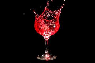 IJsklontje splasht in een glas wijn van Nisangha Masselink