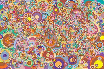 Abstract werk met cirkels 'Herfst' reliëf van Ton Kuijpers