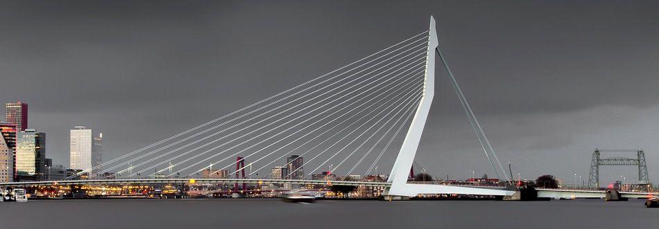 Bewolkte skyline van Rotterdam