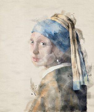 Meisje met parel in aquarel van Jerome Coppo