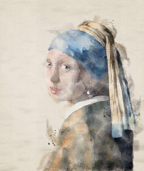 Mädchen mit Perle in Aquarellfarbe von Jerome Coppo