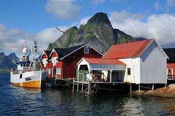 Vissersboot in Reine (Noorwegen, Lofoten) van Marc Smits
