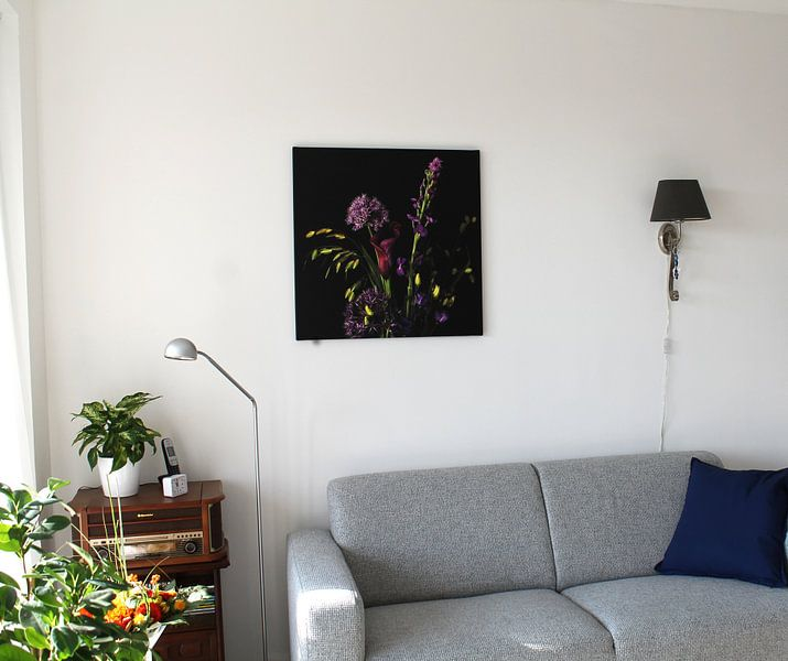 Kundenfoto: Blumenstrauß mit lila Blüten von Hanneke Luit, auf leinwand