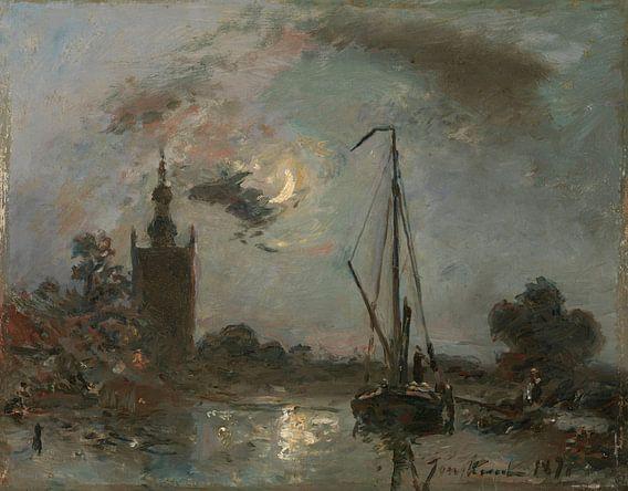 Overschie bij maneschijn, Johan Barthold Jongkind